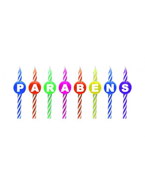 Velas de Bolo Aniversário Parabéns no Palito– Kit com 8 letras.