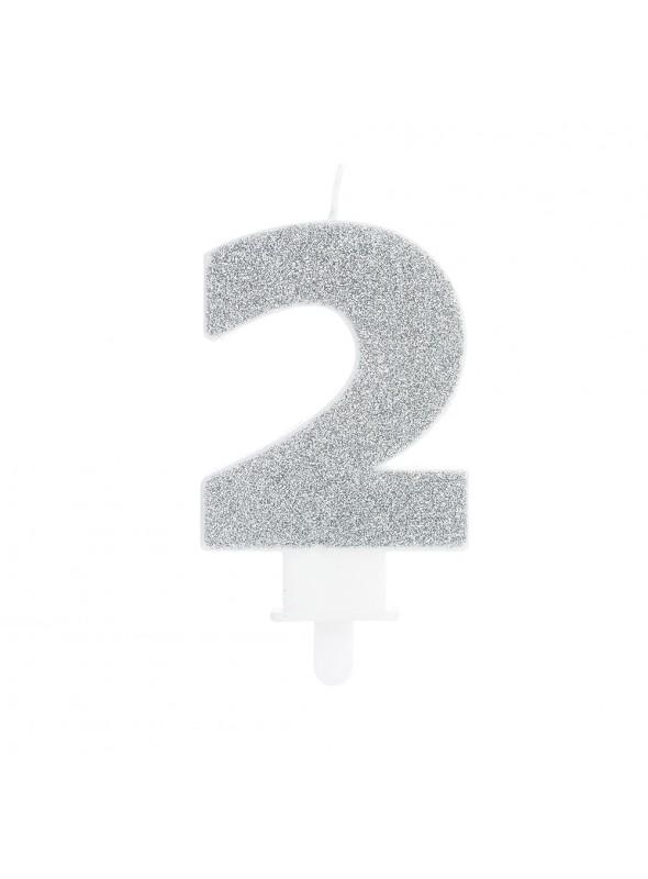 Vela de Aniversário Glitter Número 2 Prata – 1 unidade