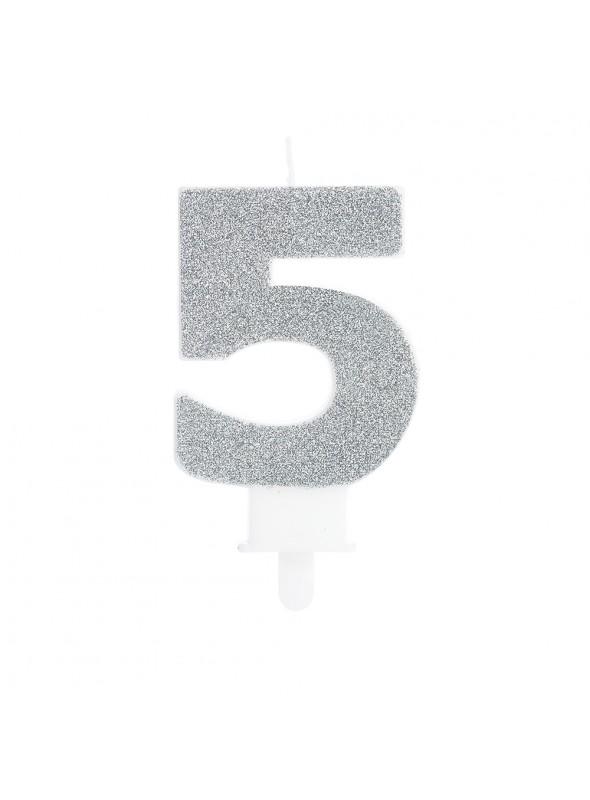 Vela de Aniversário Glitter Número 5 Prata – 1 unidade