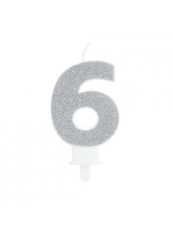 Vela de Aniversário Glitter Número 6 Prata – 1 unidade