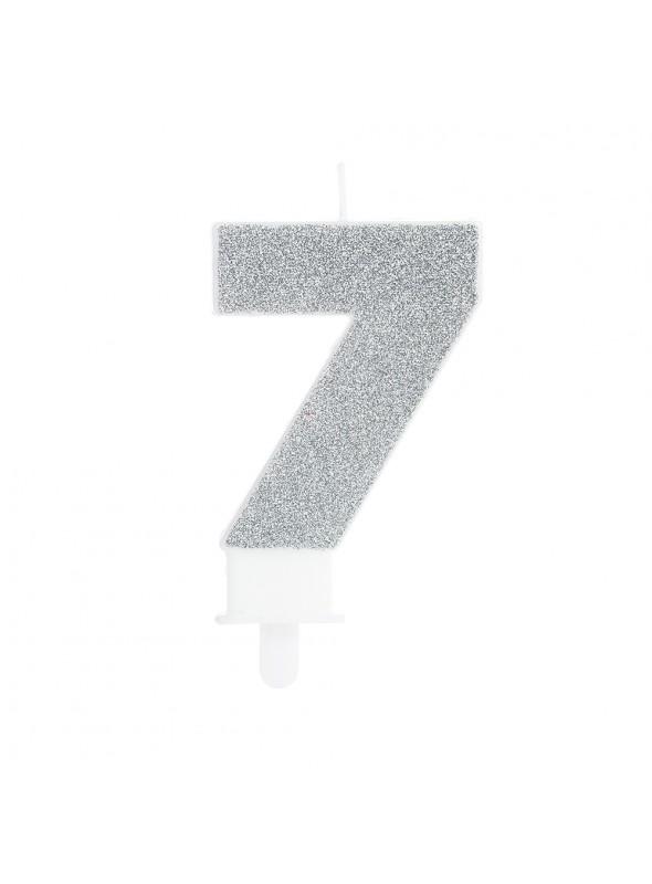 Vela de Aniversário Glitter Número 7 Prata – 1 unidade