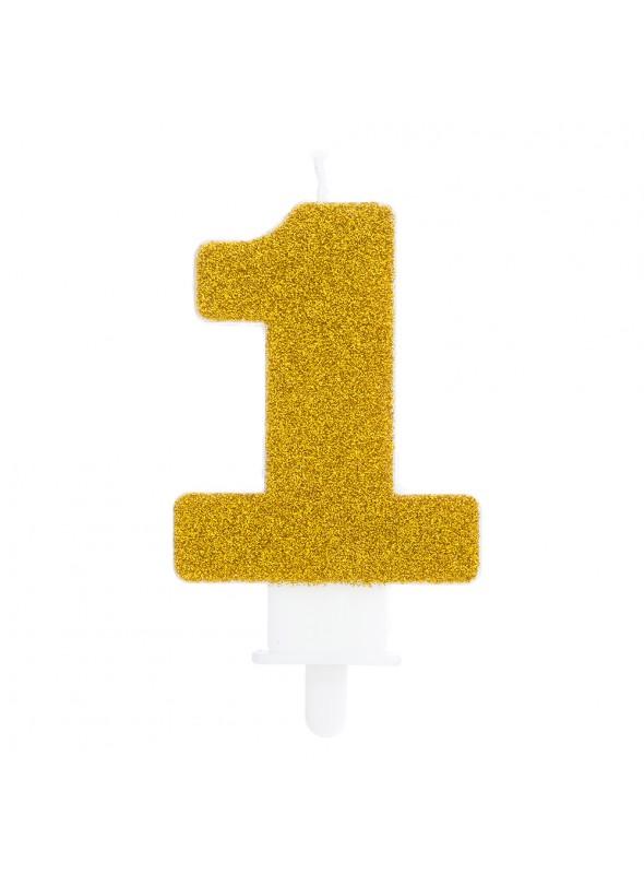 Vela de Aniversário Glitter Número 1 Dourado – 1 unidade