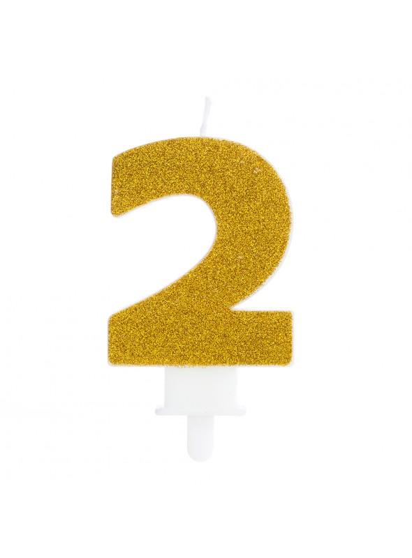 Vela de Aniversário Glitter Número 2 Dourado – 1 unidade