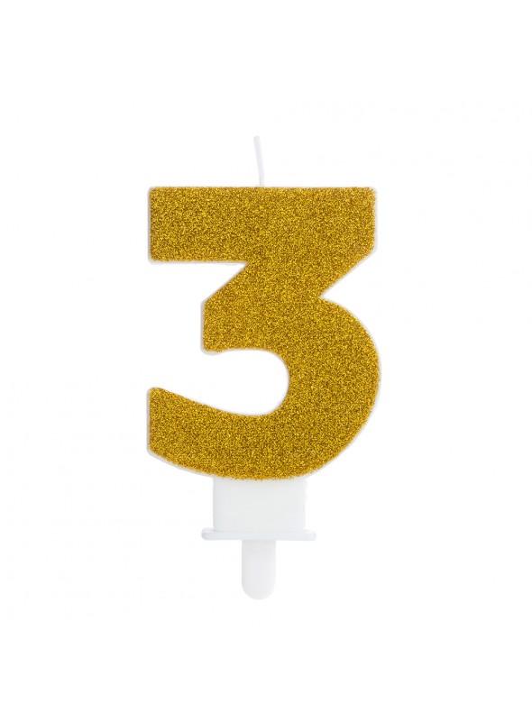 Vela de Aniversário Glitter Número 3 Dourado – 1 unidade