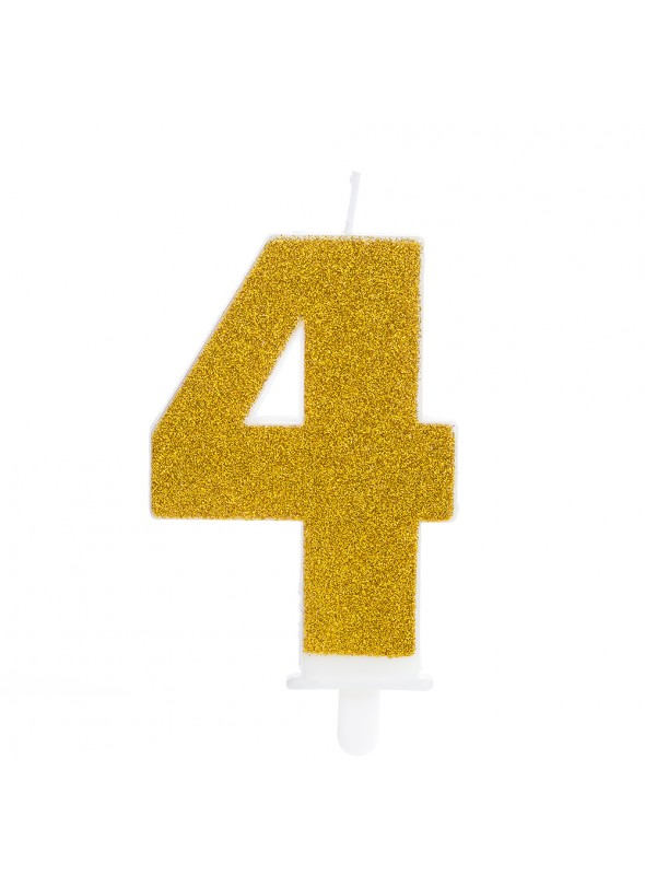Vela de Aniversário Glitter Número 4 Dourado – 1 unidade