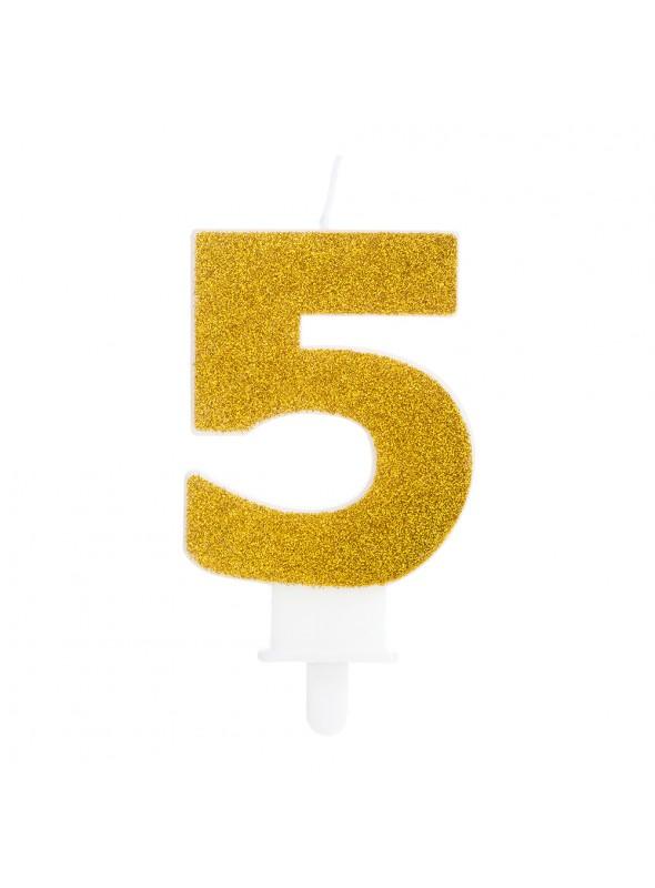 Vela de Aniversário Glitter Número 5 Dourado – 1 unidade
