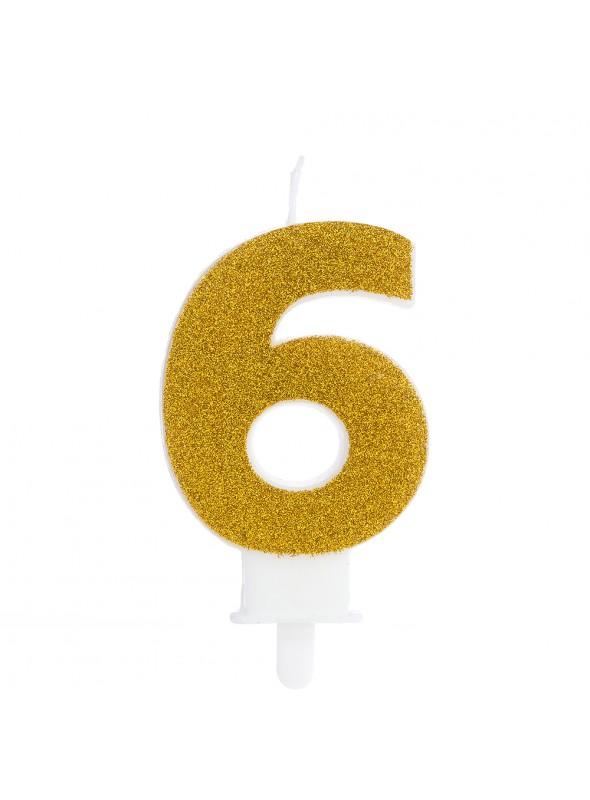 Vela de Aniversário Glitter Número 6 Dourado – 1 unidade