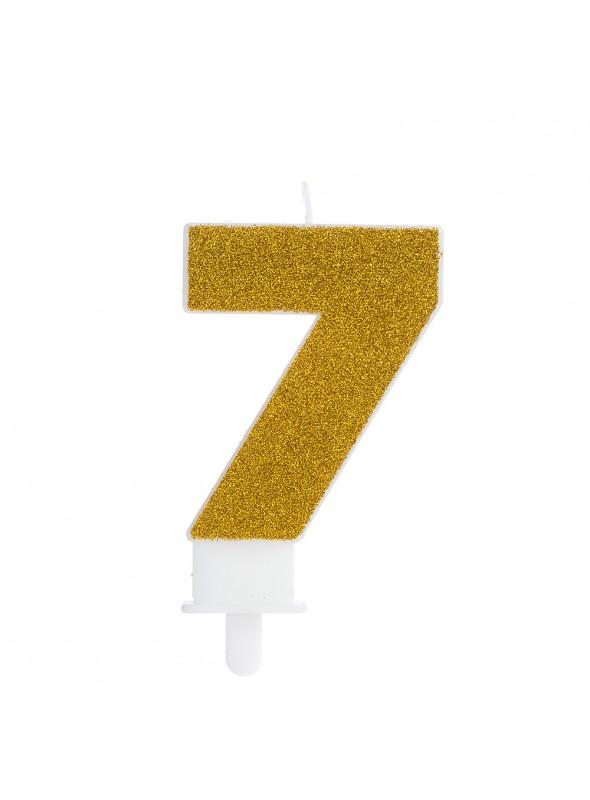 Vela de Aniversário Glitter Número 7 Dourado – 1 unidade