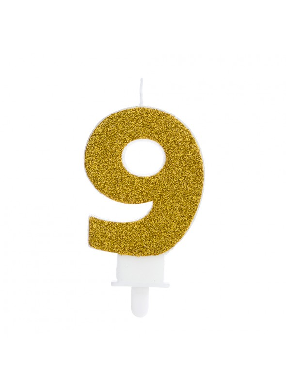 Vela de Aniversário Glitter Número 9 Dourado – 1 unidade
