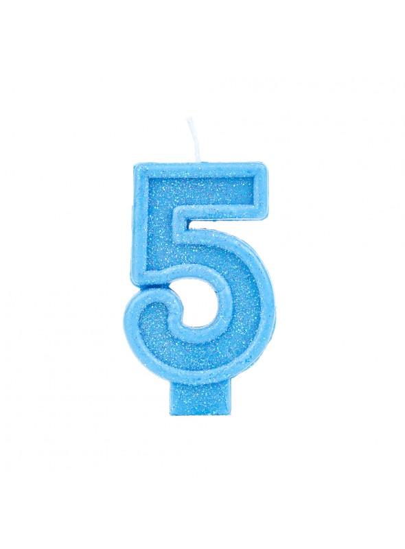 Vela de Aniversário Número 5 Glitter Azul – 1 unidade