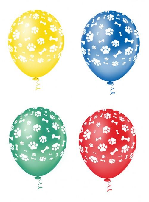 Balões de Látex Patinhas Cachorro Colorido – 25 unidades