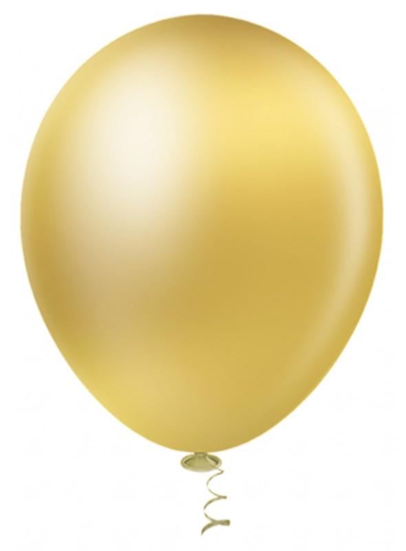 Balões de Látex Platino Cromado Dourado – 25 unidades
