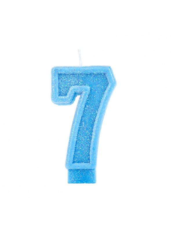 Vela de Aniversário Número 7 Glitter Azul – 1 unidade