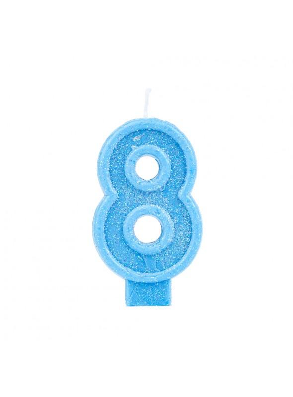 Vela de Aniversário Número 8 Glitter Azul – 1 unidade