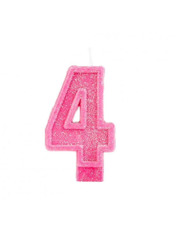 Vela de Aniversário Número 4 Glitter Rosa – 1 unidade