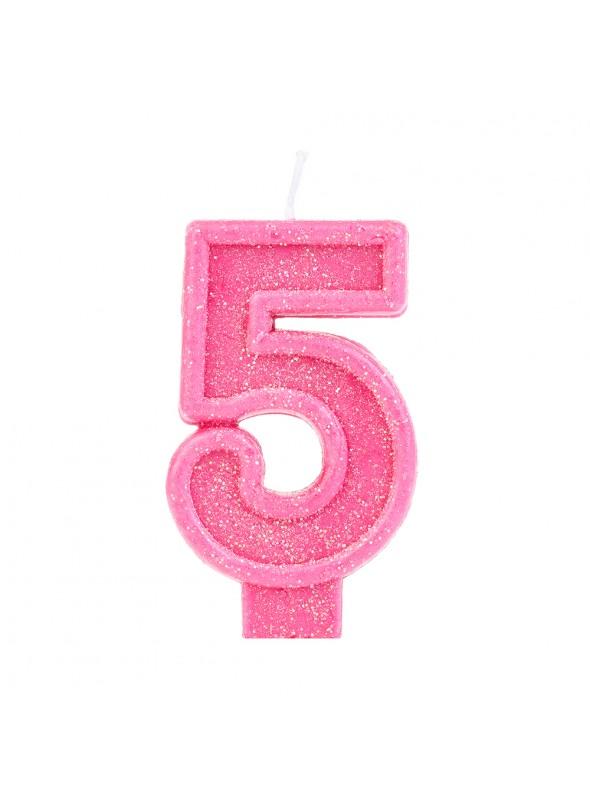 Vela de Aniversário Número 5 Glitter Rosa – 1 unidade