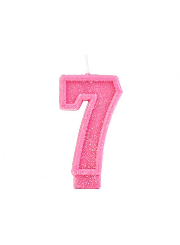 Vela de Aniversário Número 7 Glitter Rosa – 1 unidade