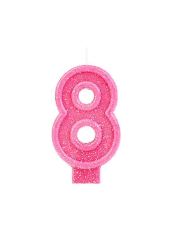Vela de Aniversário Número 8 Glitter Rosa – 1 unidade