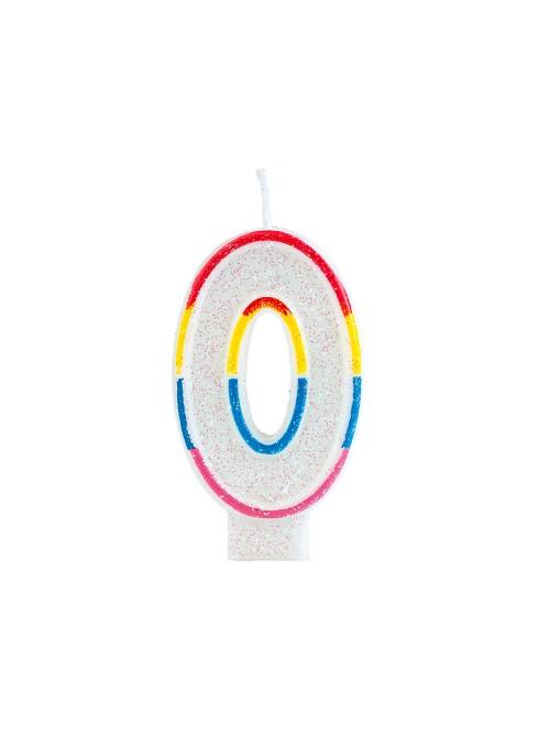 Vela de Aniversário Número 0 Glitter Colorido – 1 unidade