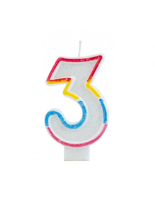 Vela de Aniversário Número 3 Glitter Colorido – 1 unidade