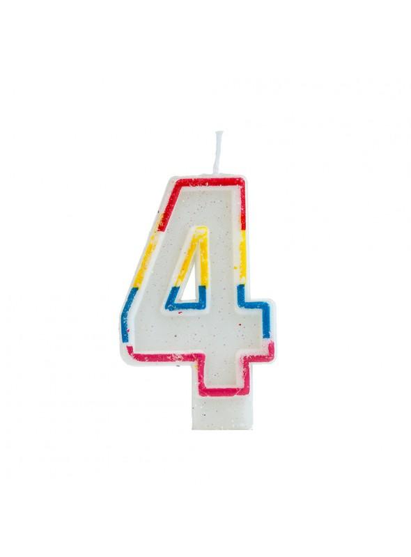 Vela de Aniversário Número 4 Glitter Colorido – 1 unidade