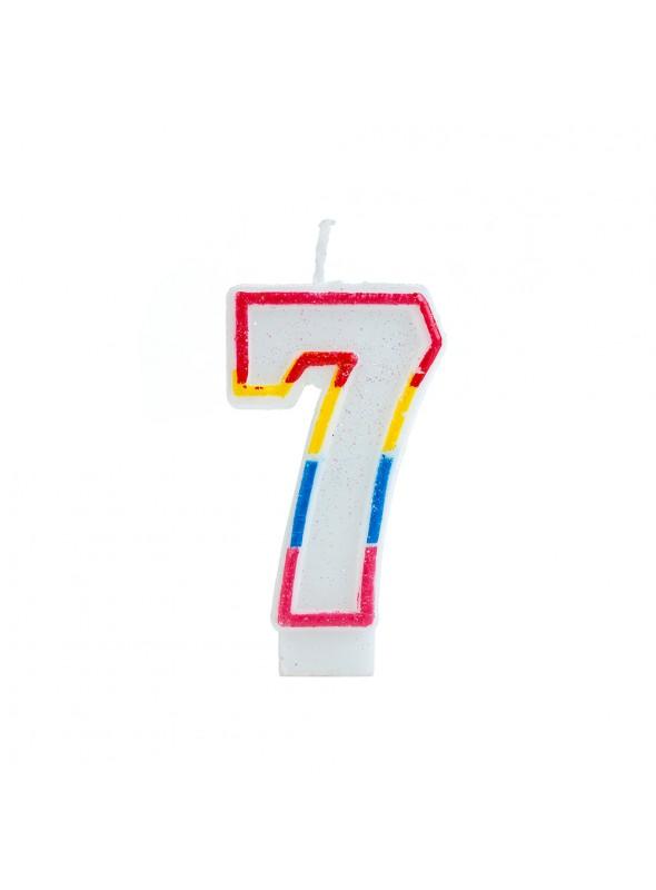 Vela de Aniversário Número 7 Glitter Colorido – 1 unidade
