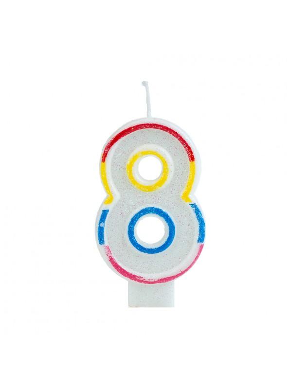 Vela de Aniversário Número 8 Glitter Colorido – 1 unidade
