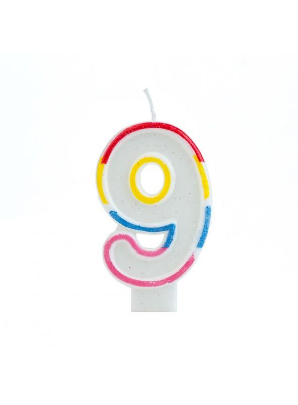Vela de Aniversário Número 9 Glitter Colorido – 1 unidade
