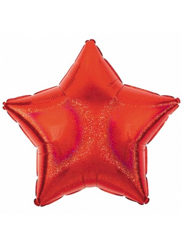 Balão Metalizado Estrela Brilhante Vermelho – 1 unidade