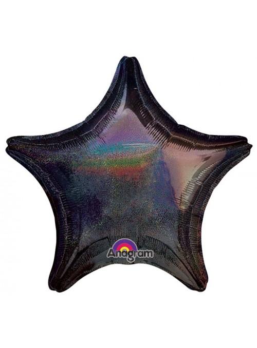Balão Metalizado Estrela Brilhante Preto – 1 unidade