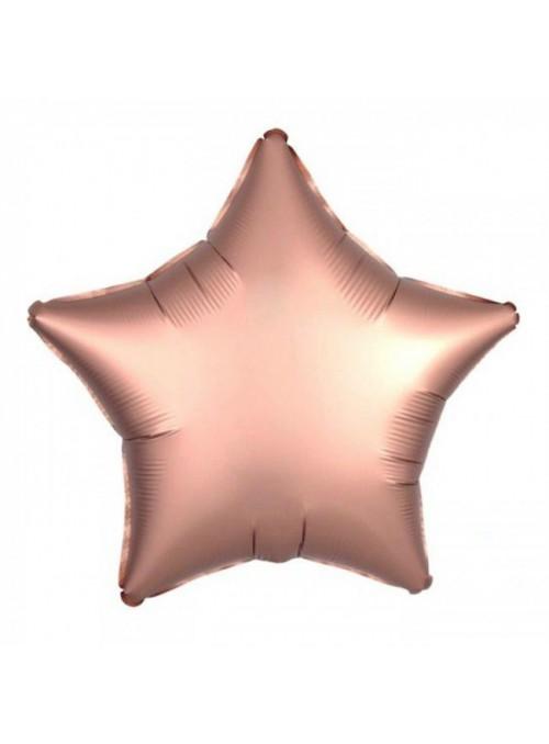 Balão Metalizado Cromado Estrela Rose Gold – 1 unidade