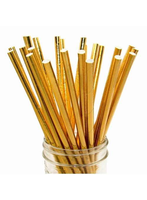 Canudos de Papel Metálico Dourado – 15 unidades