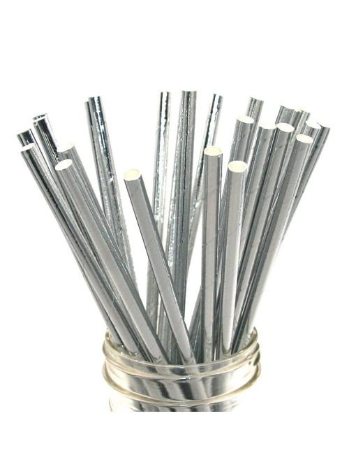 Canudos de Papel Metálico Prata – 15 unidades