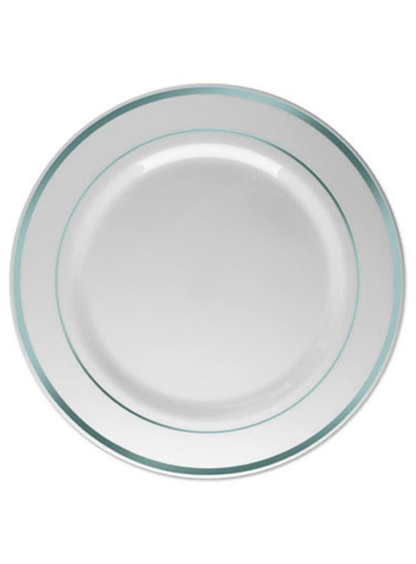 Pratos Sobremesa Descartáveis Luxo Prata – 6 unidades