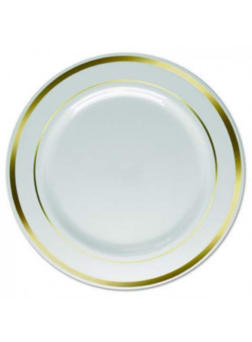 Pratos Sobremesa Descartáveis Luxo Dourado – 6 unidades