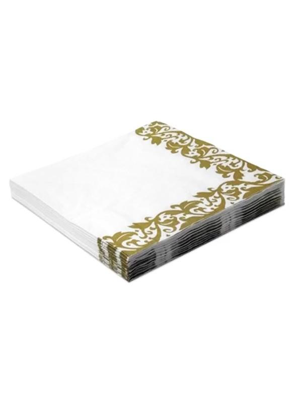 Guardanapos de Papel Luxo Arabesco Dourado – 20 unidades