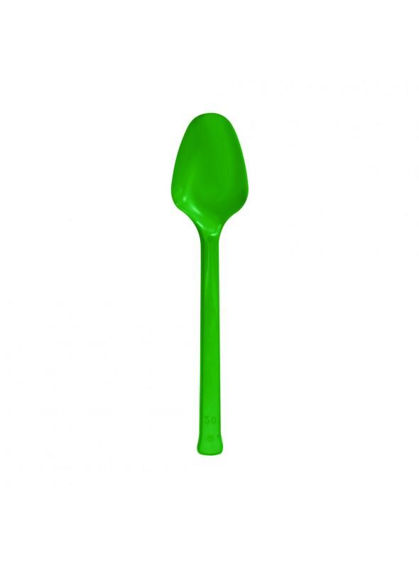 Colheres Refeição Descartáveis Luxo Verde – 10 unidades