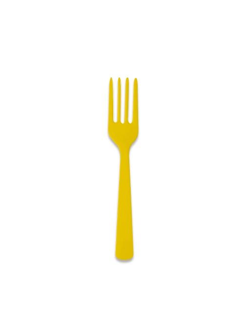 Garfos Refeição Descartáveis Luxo Amarelo – 10 unidades