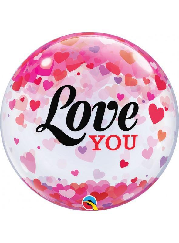 Balão Bubble Transparente Corações Amo Você – 1 unidade