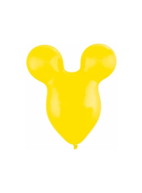 Balões de Látex Qualatex Cabeça Mickey e Minnie Amarelo – 5 unidades