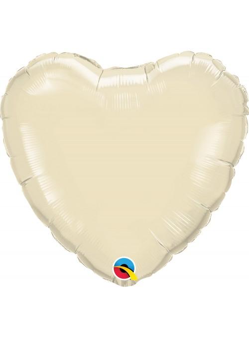 Balão Metalizado Qualatex Candy Colors Coração Marfim – 1 unidade