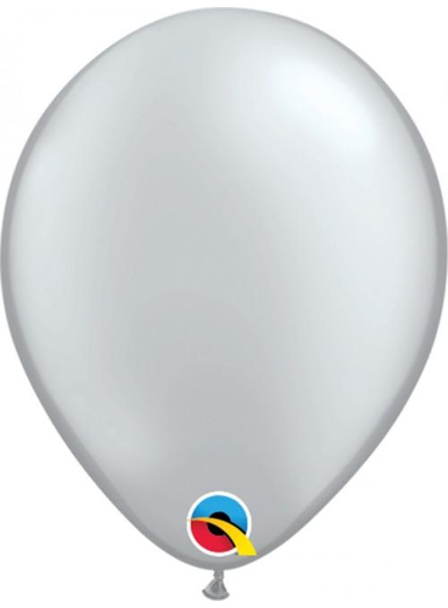 Balões de Látex Qualatex Prata 5 Polegadas – 10 unidades