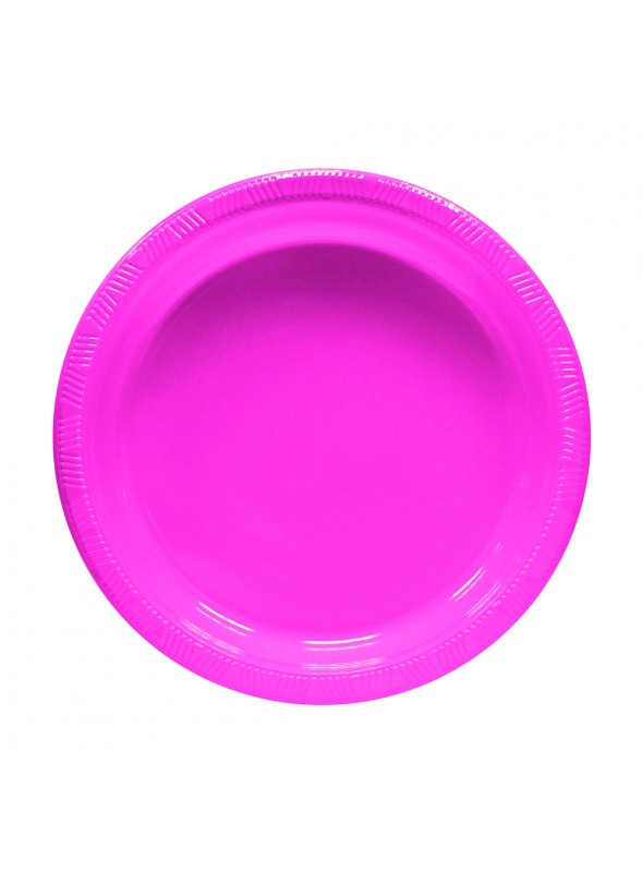 Pratos Descartáveis de Luxo Rosa – 10 unidades
