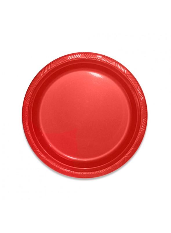 Pratos Descartáveis de Luxo Vermelho – 10 unidades
