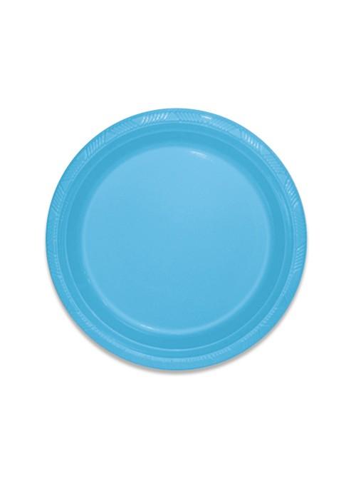 Pratos Descartáveis de Luxo Azul Claro – 10 unidades