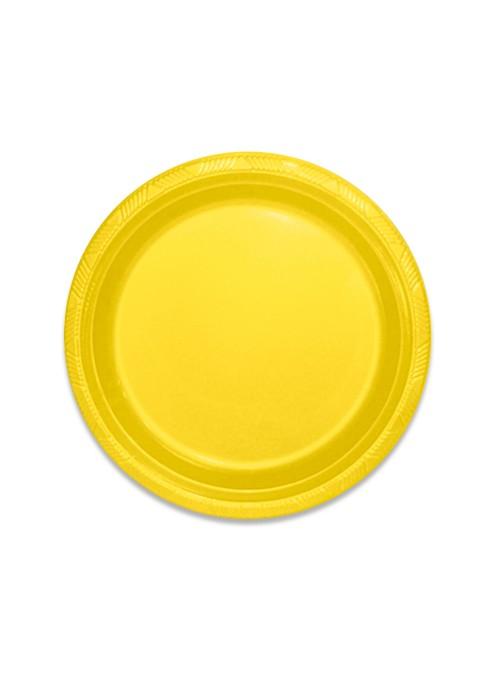 Pratos Descartáveis de Luxo Amarelo – 10 unidades