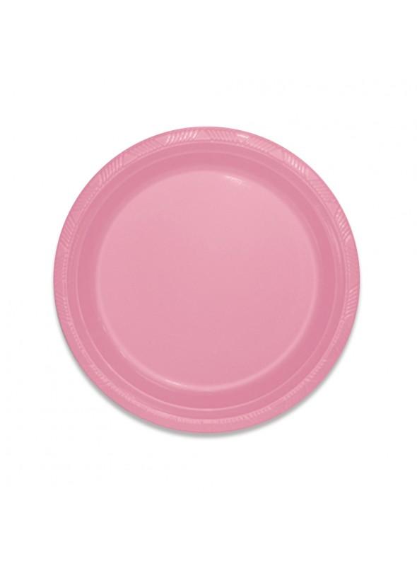 Pratos Descartáveis de Luxo Rosa Claro – 10 unidades