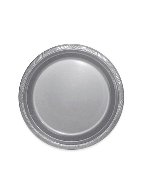 Pratos Descartáveis de Luxo Prata – 10 unidades