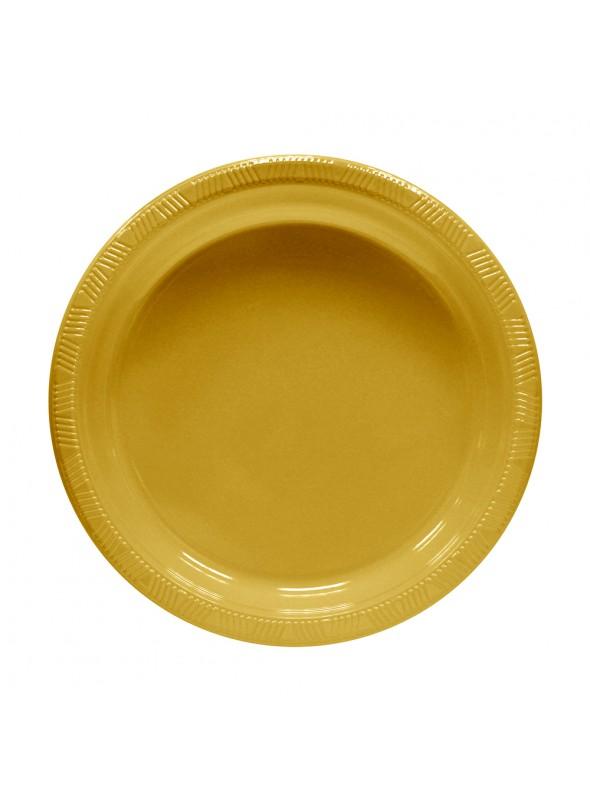 Pratos Descartáveis de Luxo Dourado – 10 unidades