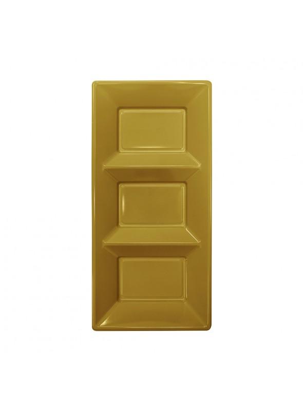 Petisqueira Descartável de Luxo Dourada – 3 unidades